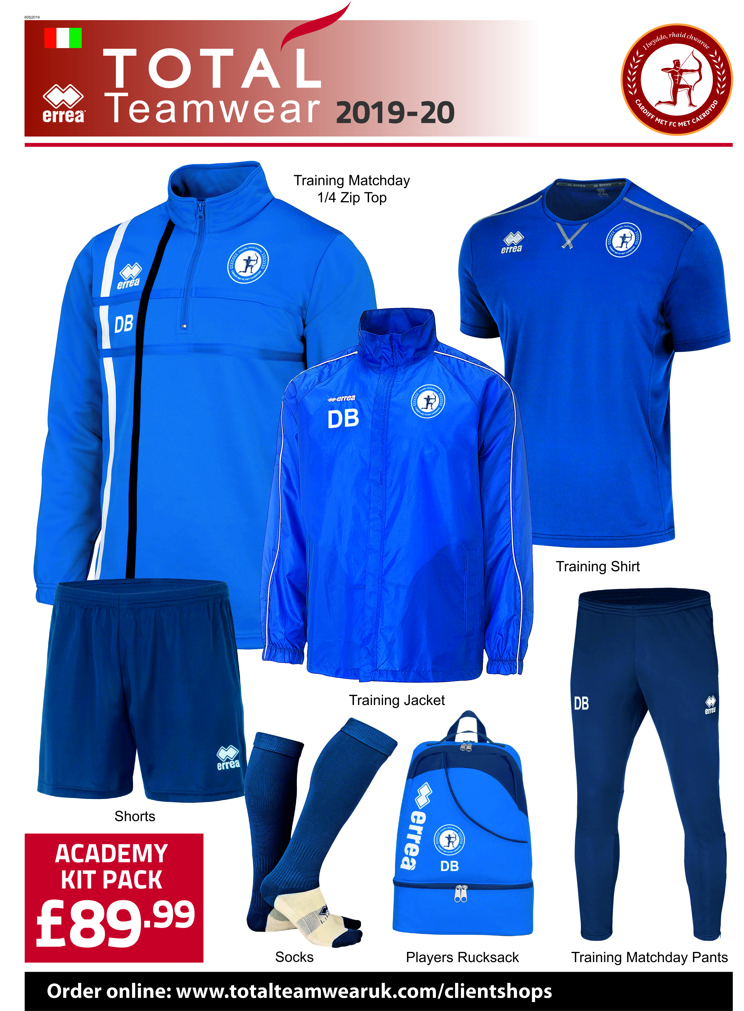 f41551c98 Total Team Wear :: CARDIFF MET FOOTBALL ACADEMY PACK